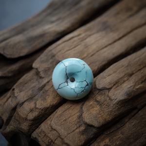 中高瓷铁线蓝绿松石平安扣吊坠