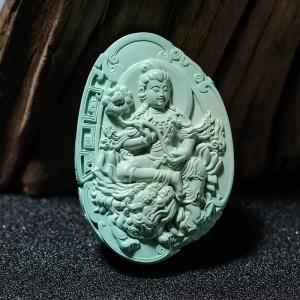 中高瓷蓝绿绿松石文殊菩萨吊坠