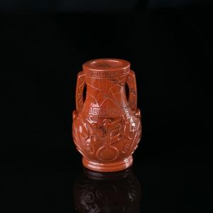 柿子红南红花瓶摆件
