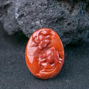 柿子红南红年年有余吊坠