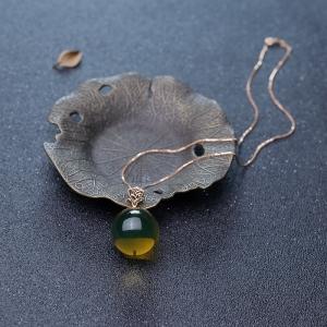 18K墨西哥蓝珀圆珠项链