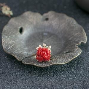 18K沙丁珊瑚戒指