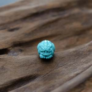 高瓷蓝绿绿松石貔貅戒面