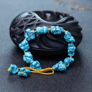 高瓷铁线蓝绿松石随形单圈手串