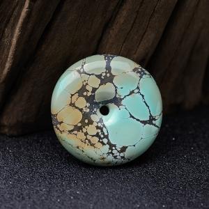 高瓷铁线蓝绿绿松石平安扣