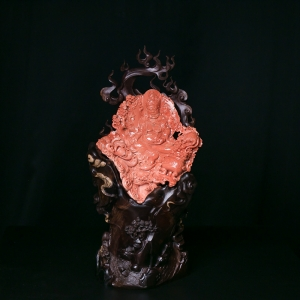 MOMO珊瑚黄财神摆件