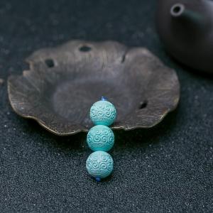 中高瓷浅蓝绿松石回纹珠套装(三件)