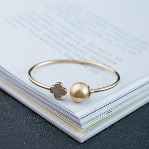 54.5mm18K海水金色珍珠手镯