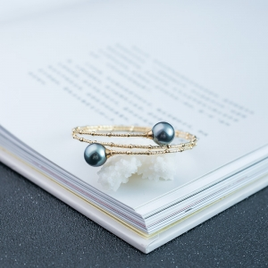 18K海水黑色珍珠手环