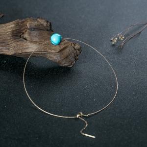 18K高瓷铁线蓝绿松石圆珠项链