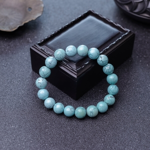 10.5mm中高瓷鐵線藍綠松石手串