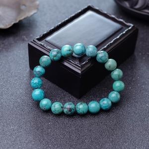 10.5mm中高瓷铁线蓝绿绿松石手串