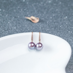 18K淡水紫色珍珠耳墜