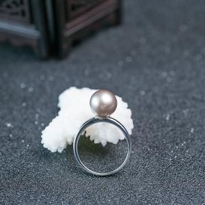 18K海水灰色珍珠戒指