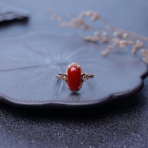 18K阿卡牛血红珊瑚戒指