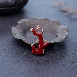 18K阿卡牛血红珊瑚吊坠