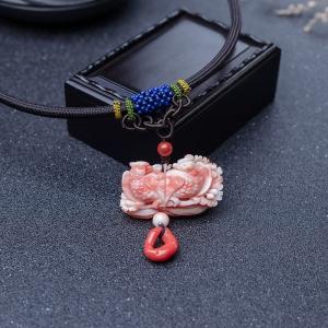 深水珊瑚鸳鸯吊坠