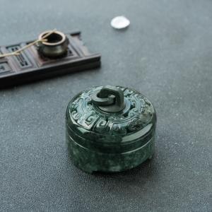 糯种深绿翡翠仿古香炉摆件