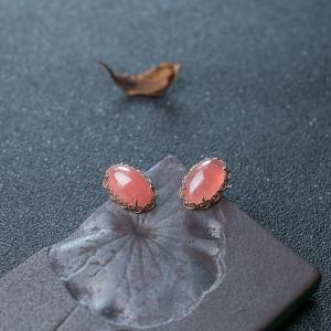 18K红纹石耳钉