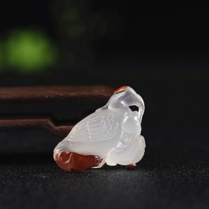 冰飄柿子紅南紅仙鶴延年吊墜