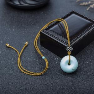 中瓷铁线浅蓝绿松石平安扣吊坠