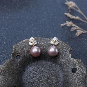 18K淡水紫色珍珠耳坠