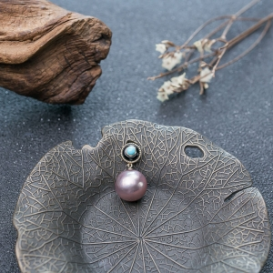 18K淡水紫色珍珠吊坠
