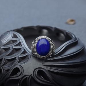 银镶深蓝色青金石戒指