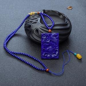紫蓝色青金石鸟语花香吊坠