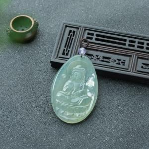 糯冰种浅绿翡翠观音吊坠