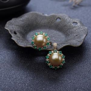 18K海水金色珍珠套装