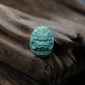 高瓷蓝绿绿松石龙戒面