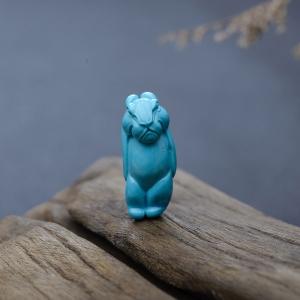 高瓷铁线蓝色绿松石兔子吊坠