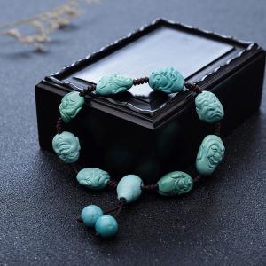 高瓷蓝绿绿松石罗汉单圈手串