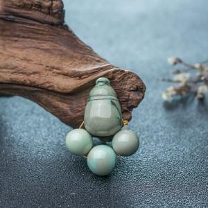 高瓷铁线绿色绿松石三通圆珠配件