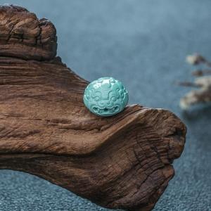高瓷蓝绿绿松石貔貅背云