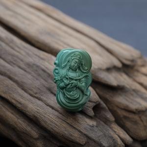高瓷绿色绿松石观音吊坠