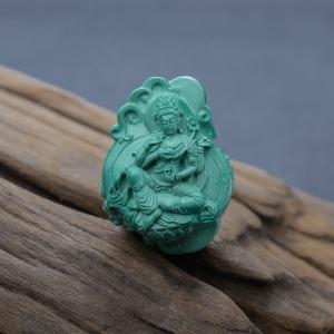 高瓷蓝绿绿松石四臂观音吊坠