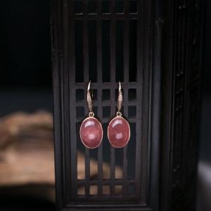 18K红纹石耳坠