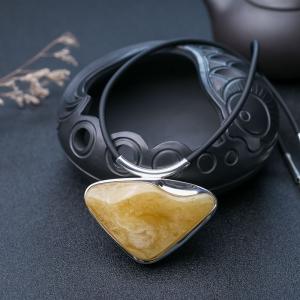 銀鑲帶皮雞油黃蜜蠟隨形項鏈