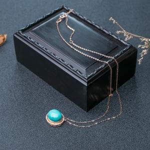 18K高瓷铁线蓝绿绿松石项链