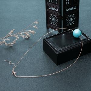 18K高瓷铁线蓝色绿松石项链