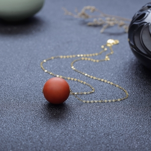 18K柿子红南红项链