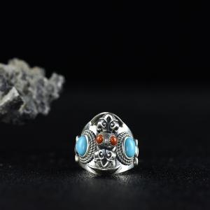 银镶柿子红南红金刚杵戒指