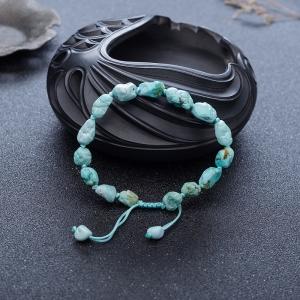 中瓷铁线浅蓝绿松石随形单圈手串