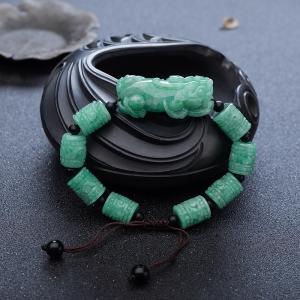 糯种豆绿翡翠貔貅单圈手串