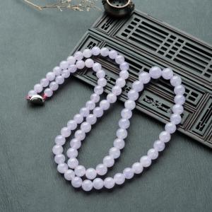 糯冰种紫罗兰翡翠塔链