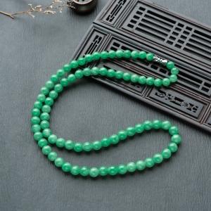 6.5mm糯冰种翠绿翡翠项链