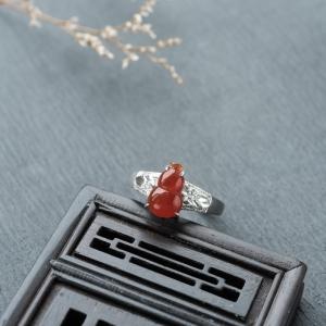 18K糯冰种红翡翡翠福禄戒指