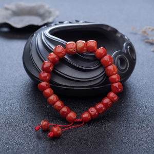 阿卡珊瑚桶珠单圈手串